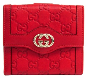 Gucci Gucci Guccissima 190337 Unisex GG Leather Wallet (tri-fold) Gold,Red