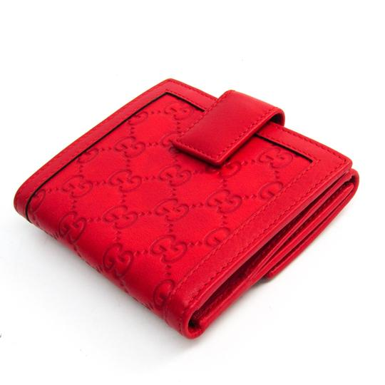 Gucci Gucci Guccissima 190337 Unisex GG Leather Wallet (tri-fold) Gold,Red Image 1