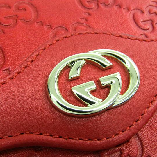 Gucci Gucci Guccissima 190337 Unisex GG Leather Wallet (tri-fold) Gold,Red Image 6