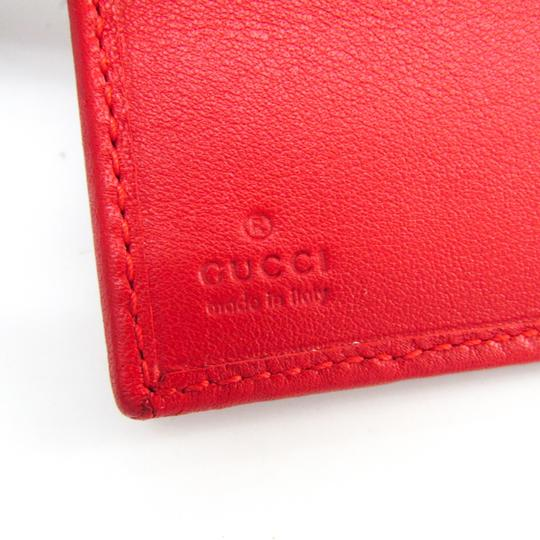 Gucci Gucci Guccissima 190337 Unisex GG Leather Wallet (tri-fold) Gold,Red Image 7
