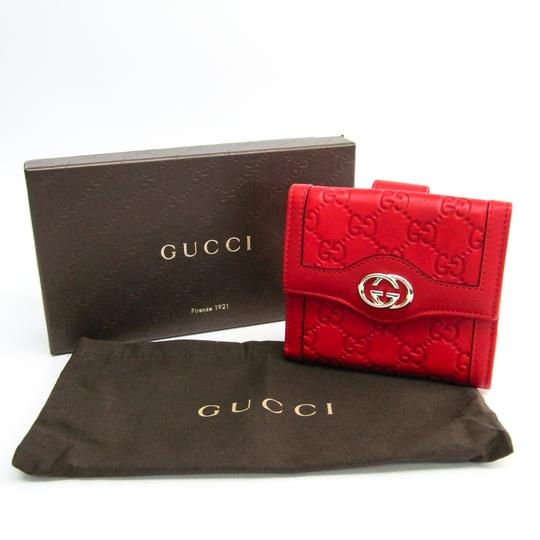 Gucci Gucci Guccissima 190337 Unisex GG Leather Wallet (tri-fold) Gold,Red Image 9
