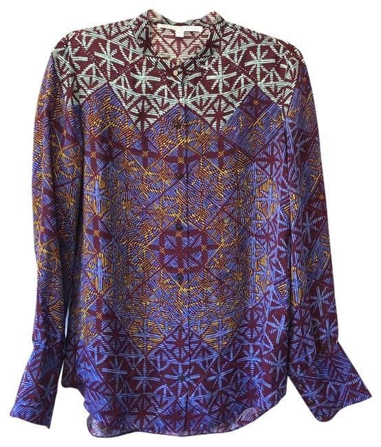 Item - Purple Amethyst Silk Abstract Blouse Button-down Top Size 10 (M)