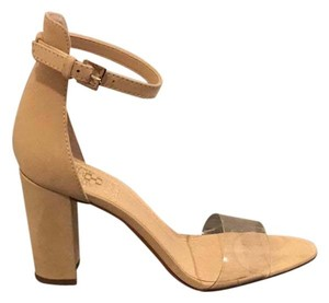 Vince Camuto Nude Clear Strap Platforms