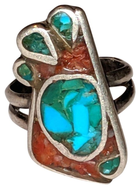 Item - Turquoise Red Silver Sterling Corral Gemstone Size 6 New Mexic Ring