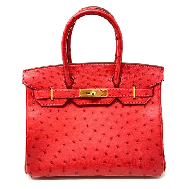 Item - Birkin W *new* 30 W/ Gold Hardware Red Rouge Ostrich Leather Tote
