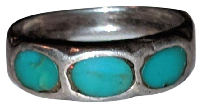 Item - Silver Turquoise Sterling Gemstone Navajo Size 7 New Mexico Ring