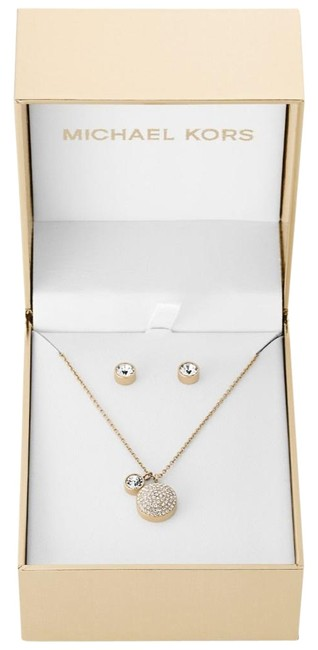 Item - Gold-tone New Women's Pavé Dome Pendant and Stud Earrings Gift Set Mkj5942 Necklace