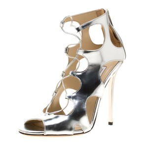 Jimmy Choo Leather Cut-out Silver Sandals