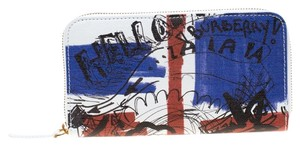 Burberry White Doodle print Coated Canvas Zip Around Wallet