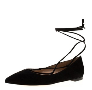 Gianvito Rossi Suede Pointed Toe Ankle Black Flats