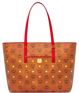 MCM Shopper Purse Skyoptic Tote in Cognac red multi tan