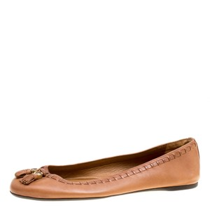 Gucci Leather Detail Round Toe Ballet Brown Flats