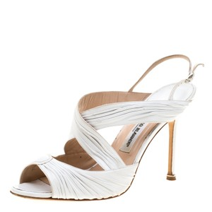 Manolo Blahnik Leather Ankle Strap White Sandals