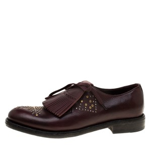 Burberry Studded Leather Detail Burgundy Flats