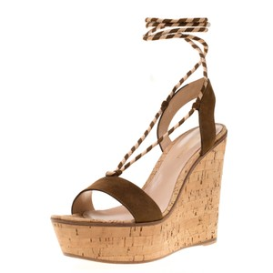 Gianvito Rossi Leather Ankle Wedge Brown Sandals