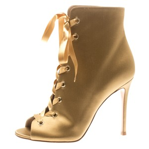 Gianvito Rossi Satin Peep Toe Ankle Gold Boots