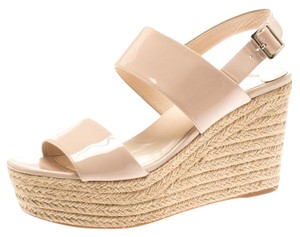 Prada Leather Espadrille Wedge Beige Sandals