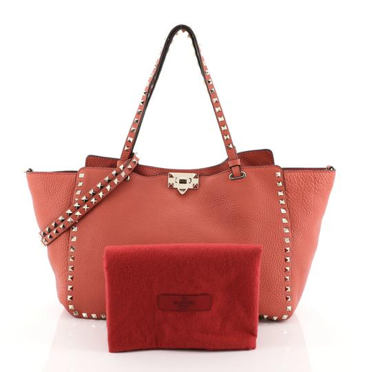 Valentino Rockstud Leather Tote in red Image 1