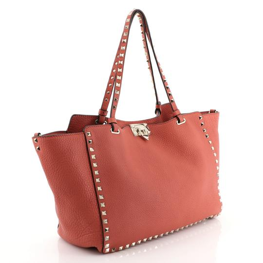Valentino Rockstud Leather Tote in red Image 2