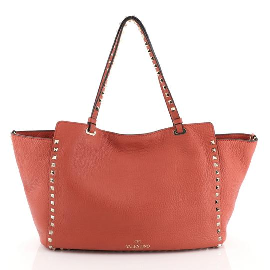 Valentino Rockstud Leather Tote in red Image 3