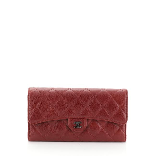 Item - Classic Flap Cc Gusset Wallet Quilted Caviar Long Red Leather Wristlet