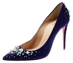 Christian Louboutin Embellished Suede Pointed Toe Blue Pumps