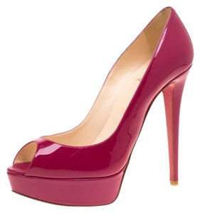 Christian Louboutin Patent Leather Peep Toe Platform Pink Pumps