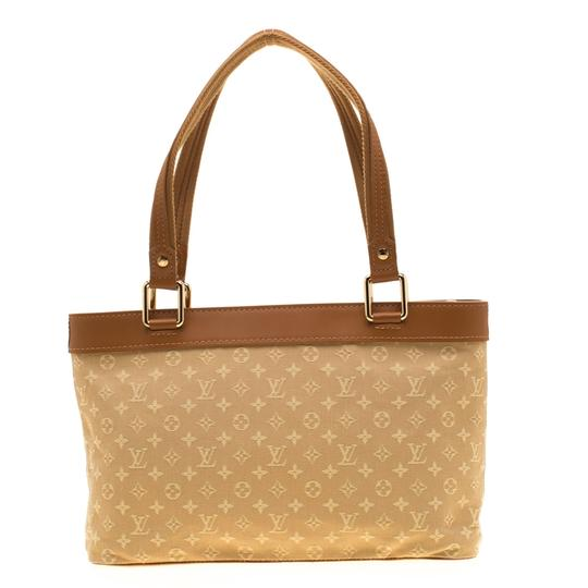 Louis Vuitton Leather Canvas Monogram Tote in Beige Image 5