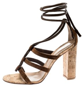 Gianvito Rossi Leather Ankle Strappy Brown Sandals