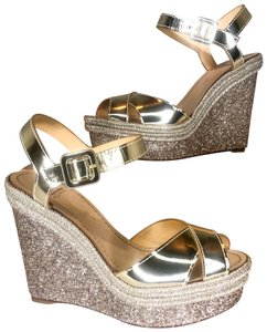 Christian Louboutin gold silver Wedges