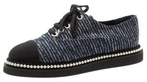 Chanel Canvas Leather Rubber Blue Flats
