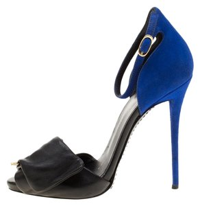 Giuseppe Zanotti Suede Leather Ankle Strap Black Sandals