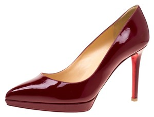 Christian Louboutin Patent Leather Pigalle Platform Red Pumps