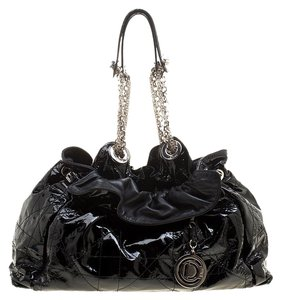 Dior Patent Leather Nylon Cannage Hobo Bag