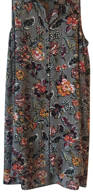 Item - Multi Black and White Floral Long Casual Maxi Dress Size 22 (Plus 2x)