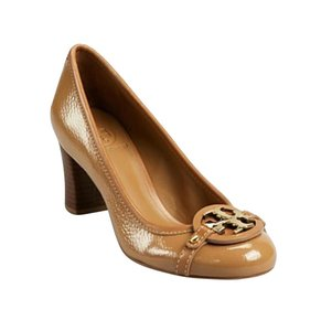 Tory Burch Chunky Leather Wood Glossy Patent Brown Wedges