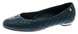 Chanel Quilted Leather Ballet Blue Flats