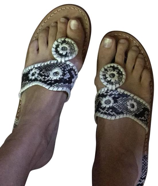 Item - Black and White and Gray Snakeskin Print Sandals Size US 8 Regular (M, B)