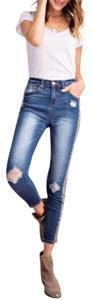 Easel Animal Print Leopard Distressed Denim Streetstyle Skinny Jeans-Distressed