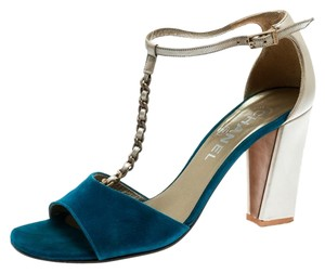 Chanel Suede Leather Heel Blue Sandals