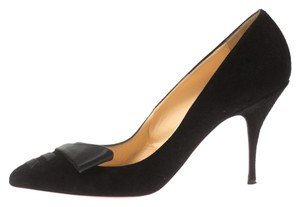 Christian Louboutin Suede Satin Detail Pointed Toe Black Pumps