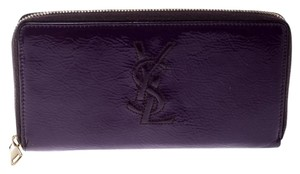 Saint Laurent Purple Patent Leather Belle de Jour Zip Around Wallet