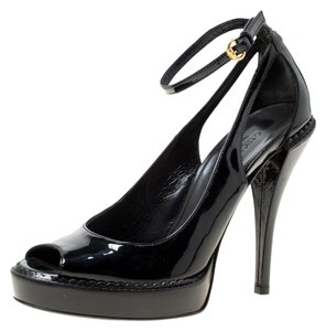 Gucci Patent Leather Peep Toe Ankle Strap Black Sandals