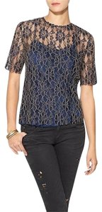 Piperlime Lace Metallic Top navy