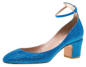 Valentino Embellished Crystal Suede Ankle Strap Blue Pumps