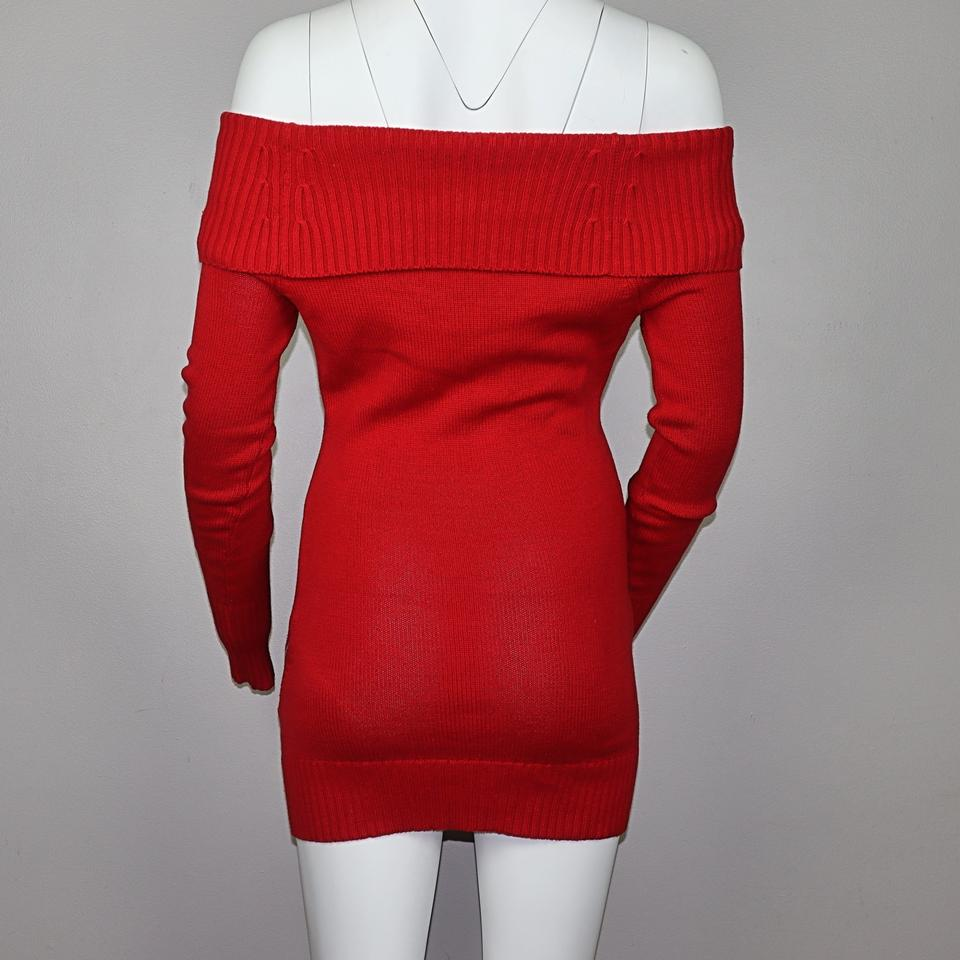 new style of 2019 best value official shop Guess Red Off Shoulder Mini Sweater Short Casual Dress Size 2 (XS) 56% off  retail