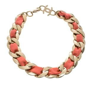 Chanel Chanel Pink Fabric Gold Tone Chain Link Choker Necklace