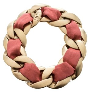Chanel Chanel Pink Fabric Gold Tone Chain Link Bracelet