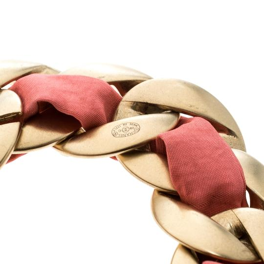 Chanel Chanel Pink Fabric Gold Tone Chain Link Bracelet Image 4