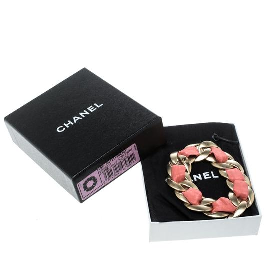 Chanel Chanel Pink Fabric Gold Tone Chain Link Bracelet Image 5